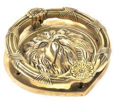 Brass Lion Head With Flower Crown Door Knocker