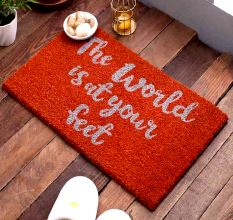 SWHF Premium Coir and Rubber Quirky Design Door and Floor Mat : The World is at your feet