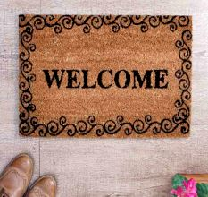 SWHF Premium Coir and Rubber Quirky Design Door and Floor Mat : Welcome