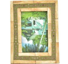 Handmade Wooden and Green Floral Border Photo Frame