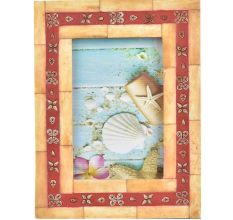 Red Photo Frame With Floral Design