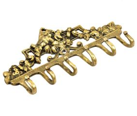 Brass Victorian Small Floral Arrrangement Six Wall Hook