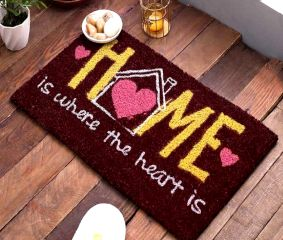 SWHF Premium Coir and Rubber Quirky Design Door and Floor Mat : Home is Where the Heart is