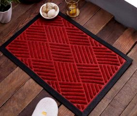 SWHF Premium Poly Propylene and Rubber Quirky Design Door and Floor Mat : Red Diamond