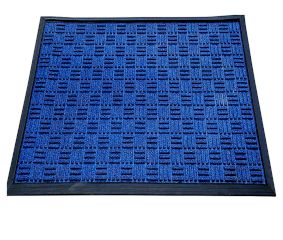 SWHF Premium Poly Propylene and Rubber Quirky Design Door and Floor Mat : Navy Blue Criss Cross