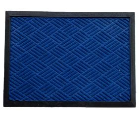 SWHF Premium Poly Propylene and Rubber Quirky Design Door and Floor Mat : Navy Blue Diamond