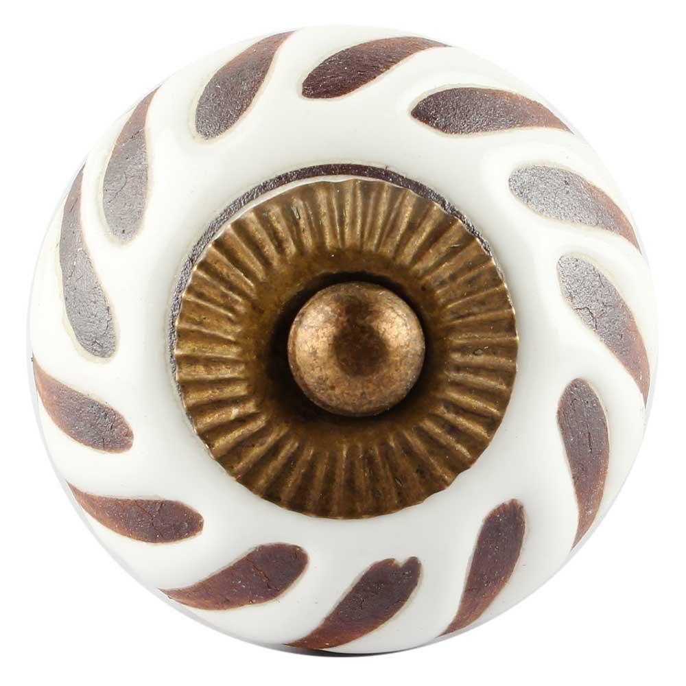 White Etched Ceramic Floral Cabinet Knobs Online