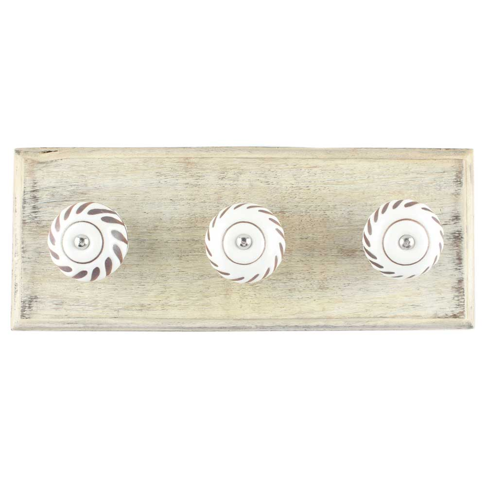 White Etched Ceramic Floral Wooden Hooks