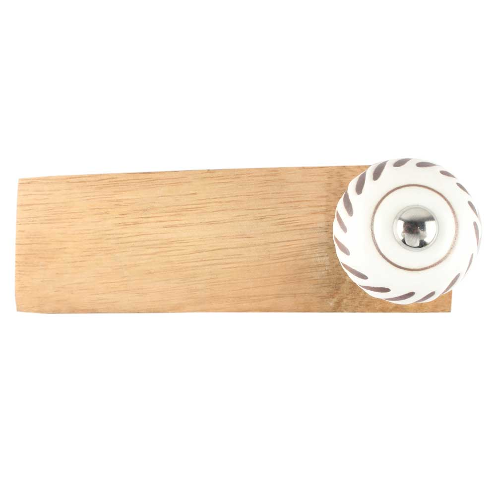 White Etched Ceramic Floral Door Stopper