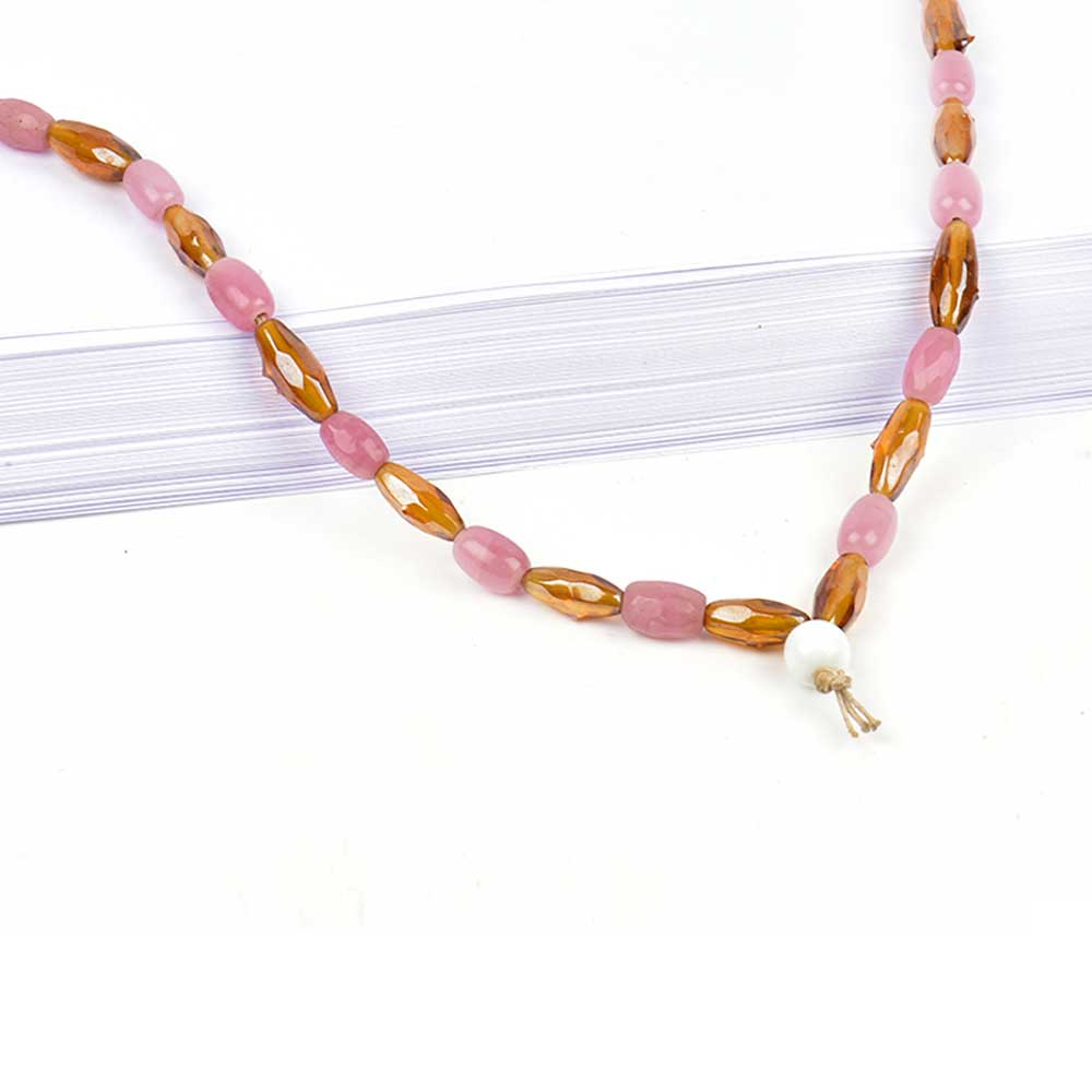 Brown Pink Mixed Bead Necklace