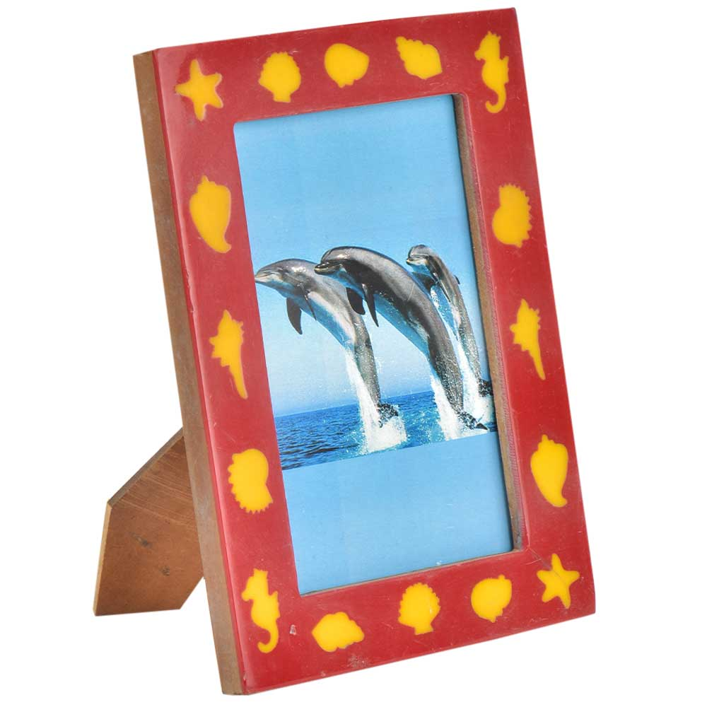 Yellow Color Beach Style Sea Creatures On Red Photo Frame