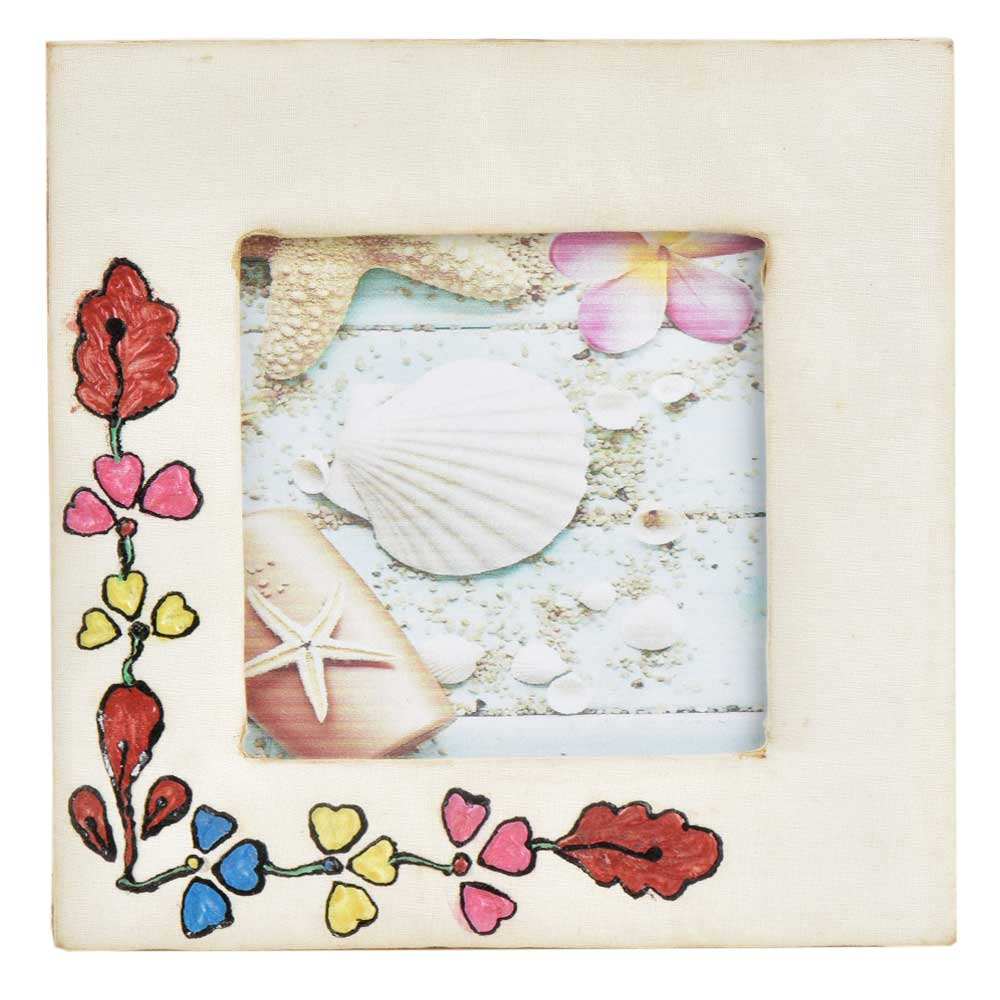 Hand Painted Floral Photo Frame