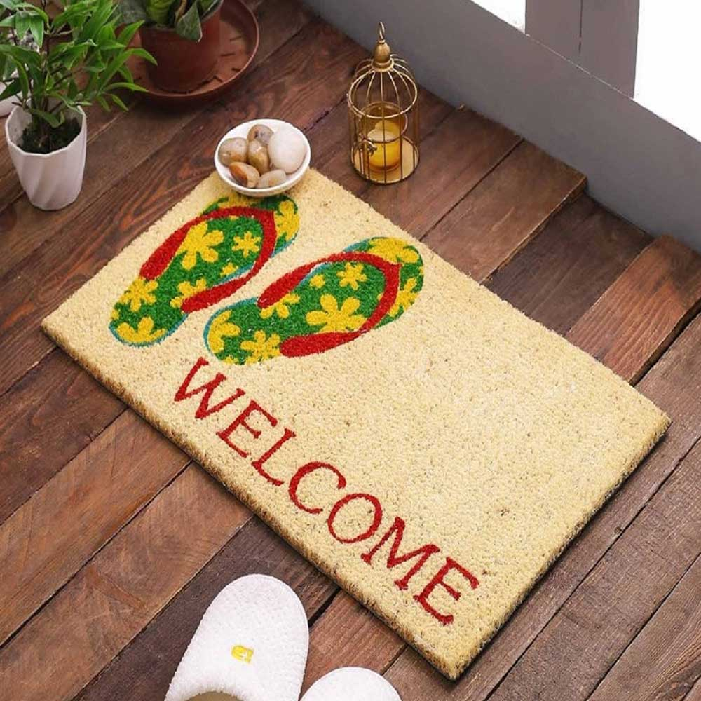 SWHF Premium Coir and Rubber Quirky Design Door and Floor Mat  : Flip-Flop Welcome