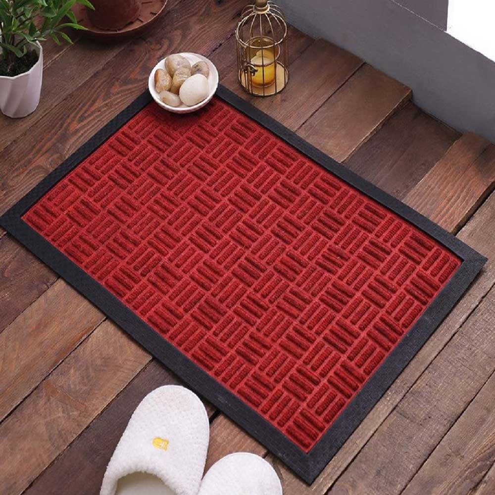 SWHF Premium Poly Propylene and Rubber Quirky Design Door and Floor Mat : Red Criscross