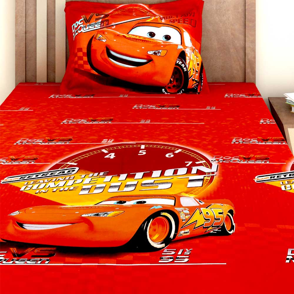 Bombay Dyeing Disney Kids Bedsheet : Cars (Doc vs McQueen)