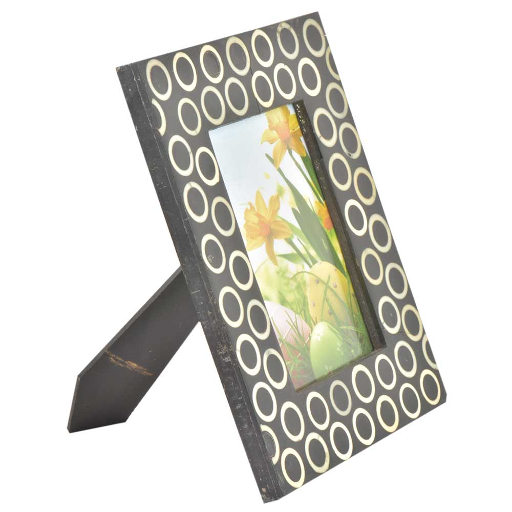 Handmade Black and White Designer Bone Inlay Photo Frame