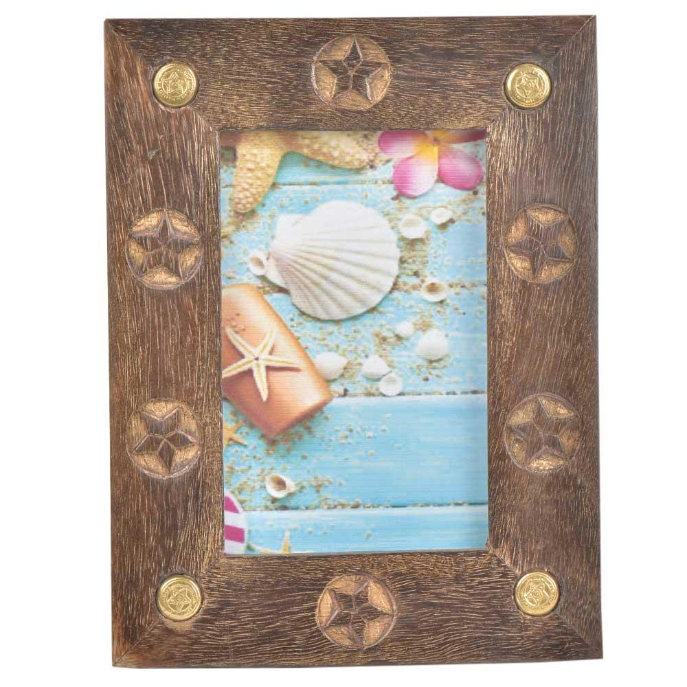 Flower Embossed Wooden Photo Frame