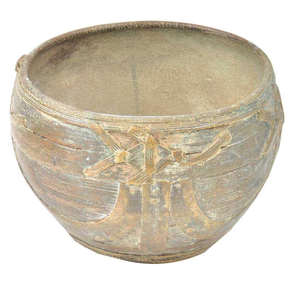 Handcrafted Wired Design Brass Prayer Or Storage Bowl