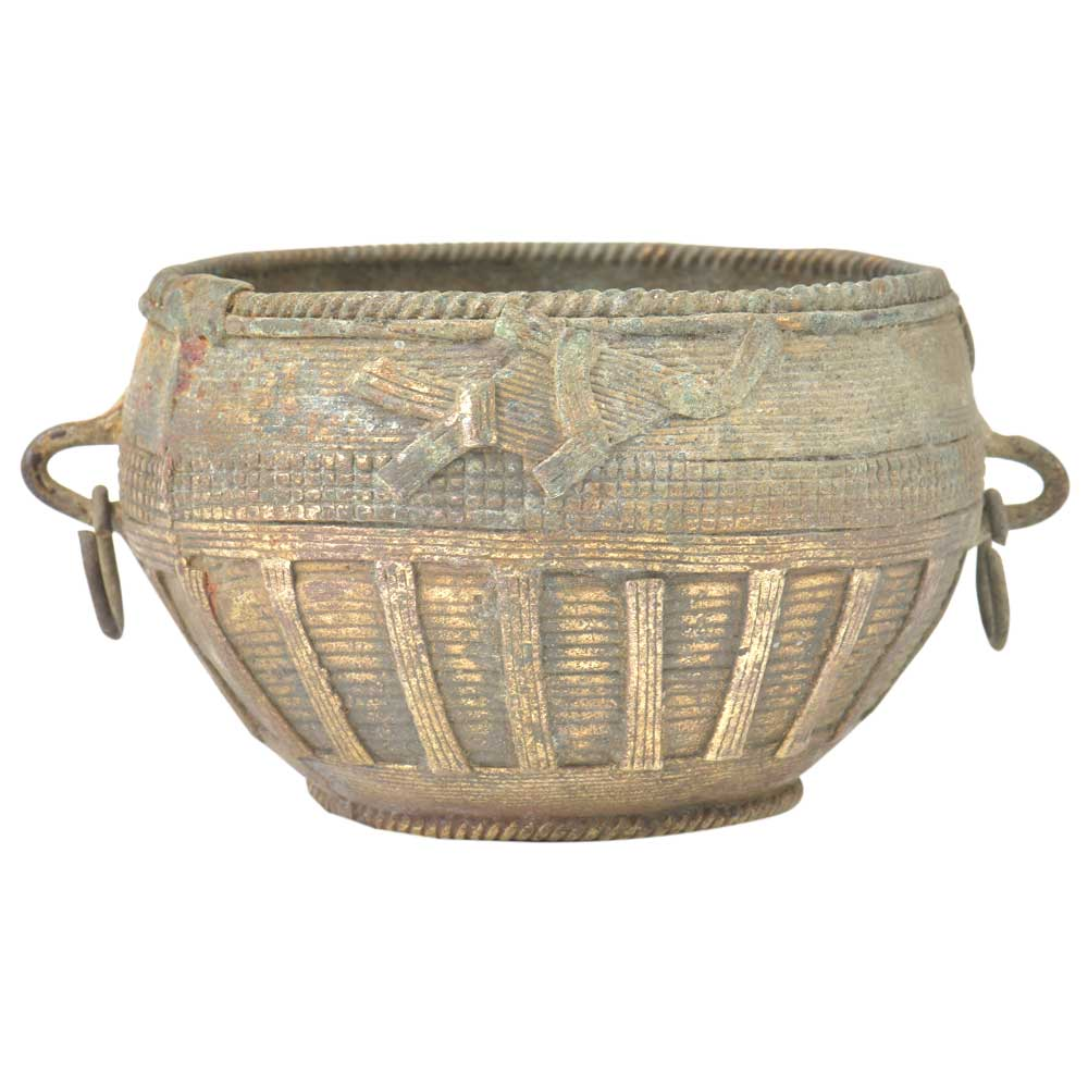 Tribal Etched Design On Brass Bowl With Ring Handles