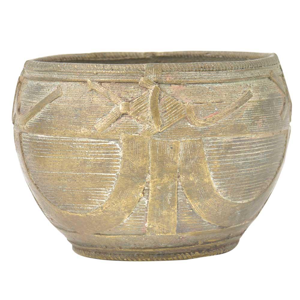 Vintage Handmade Old Brass Rice Bowl Or Offering Bowl
