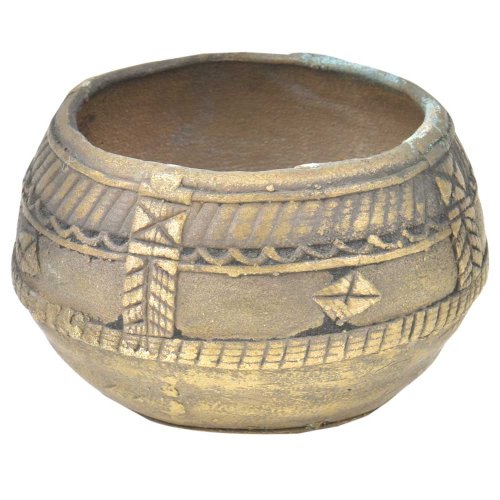 Vintage Dhokra Brass Bowl Or Rice Measure Bowl