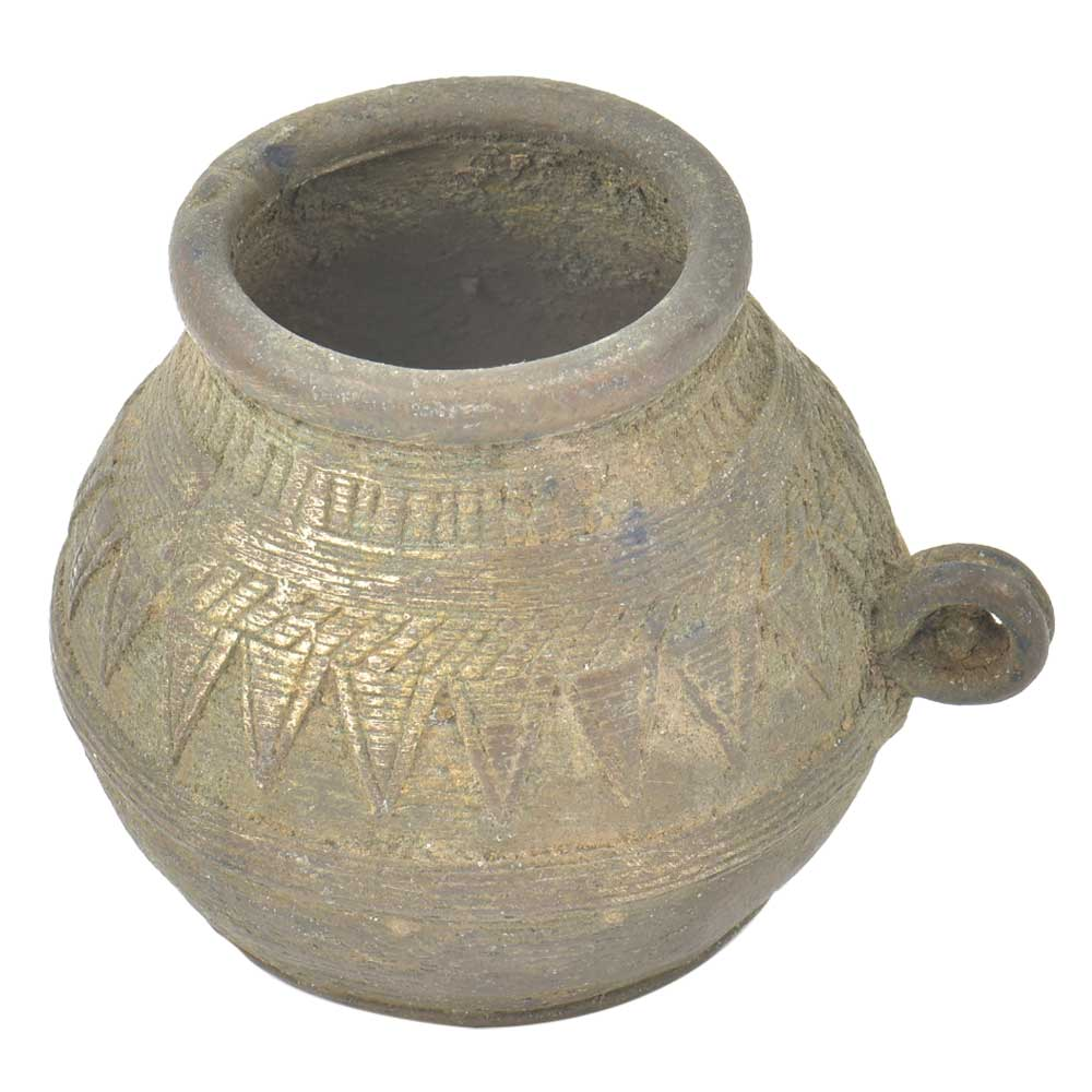 Primitive Style Tribal Pot With Pattern and SIngle Ring Handle