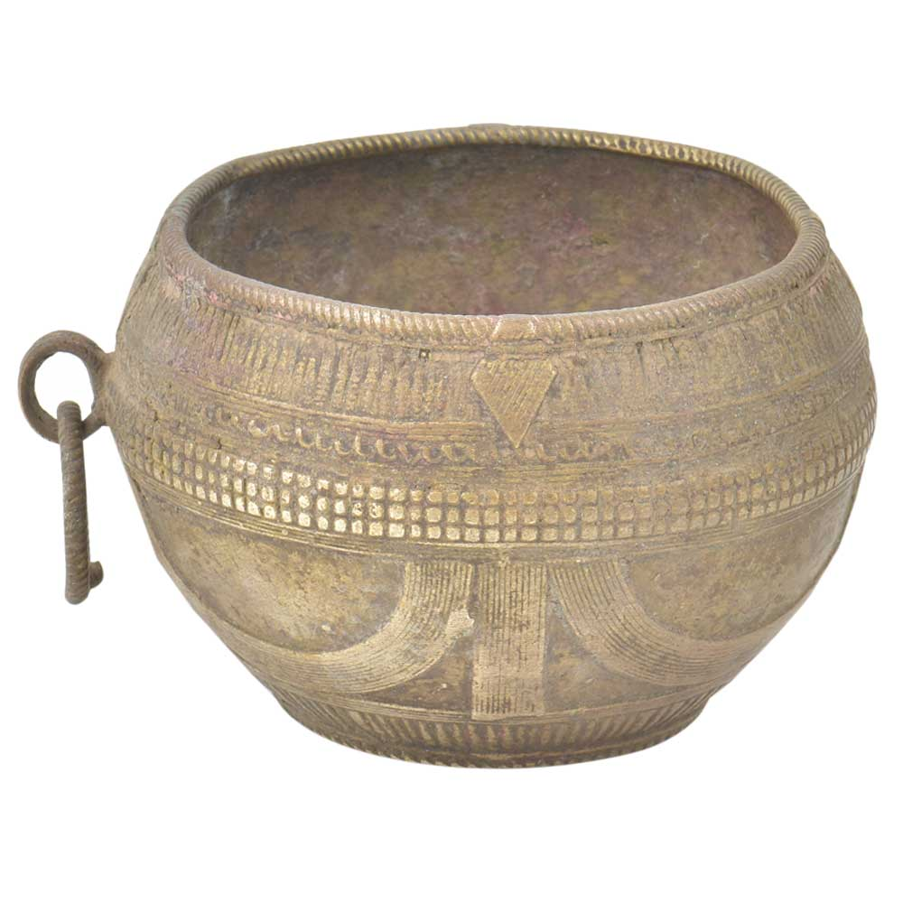 Old Tribal Wired Design Brass  Cup Or Prayer Bowl