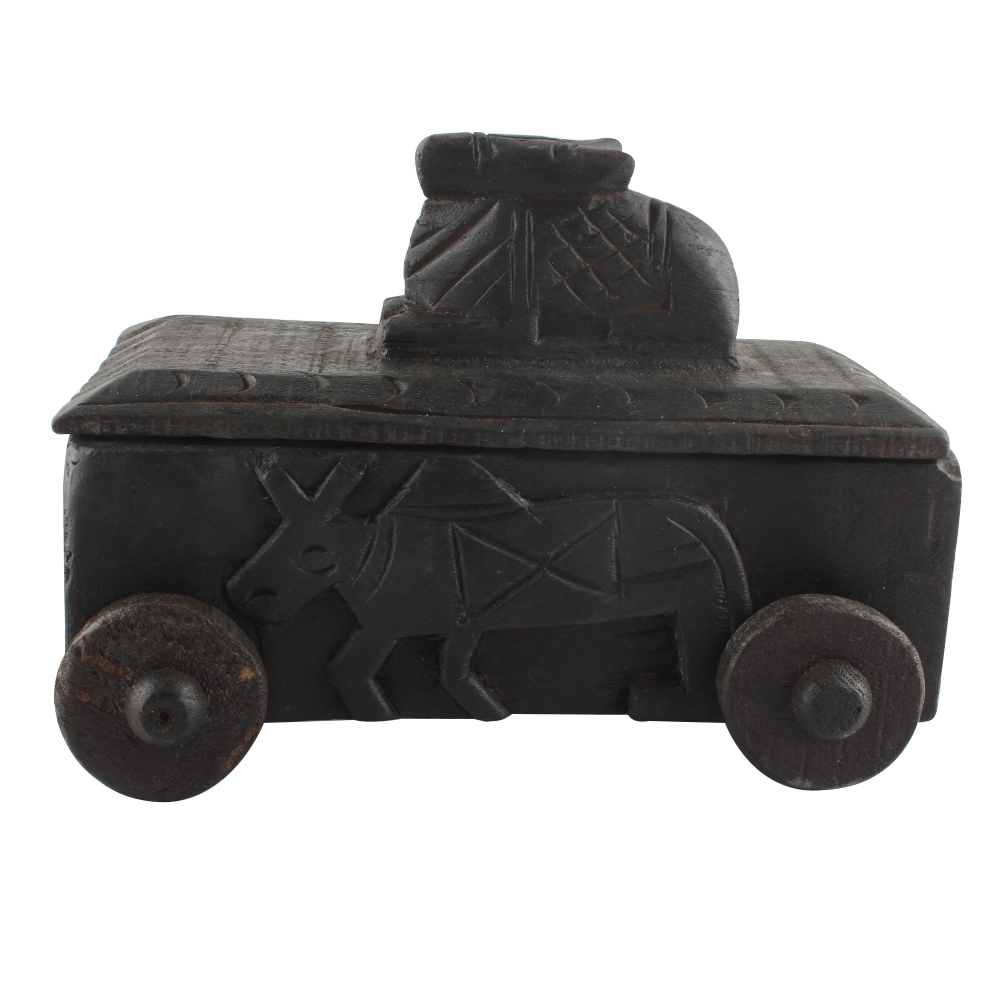Handcrafted Old Nandi Wooden Box For Storage Highly Collectible