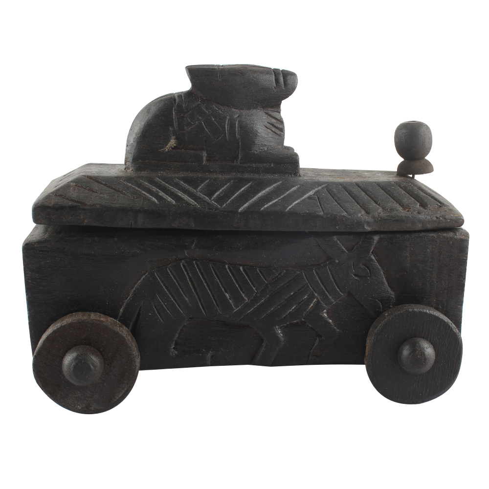 Vintage Handcrafted Old Nandi Wooden Spice Box Highly Collectible