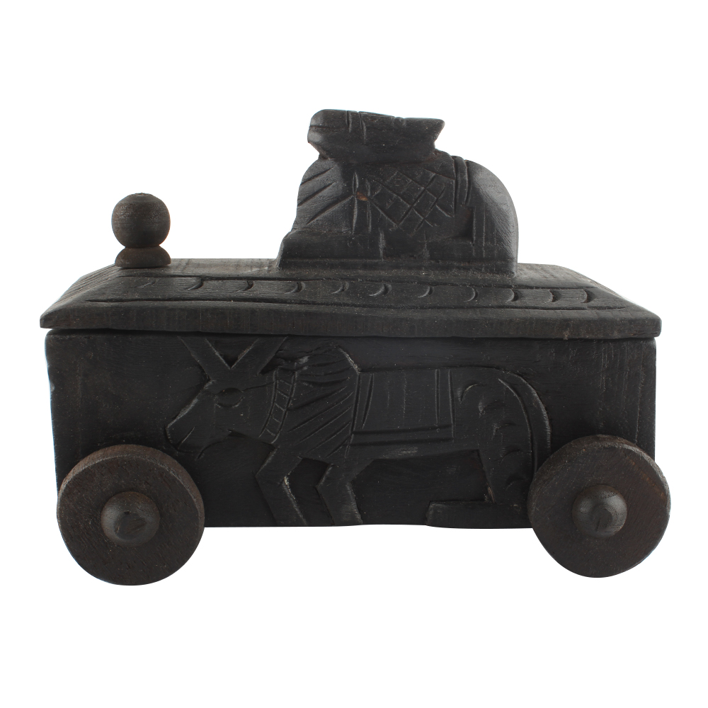 Hand Carved Nandi Wooden Box For Spices