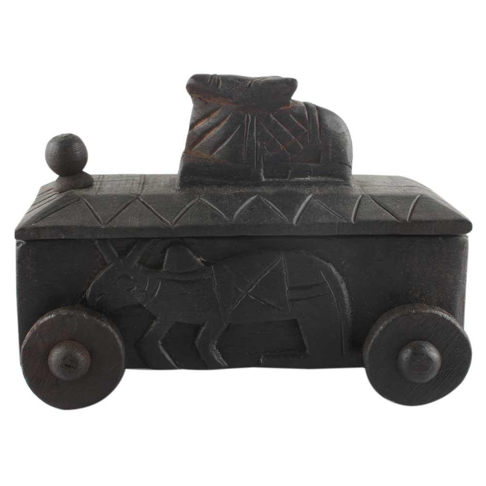 Hand Carved Nandi Wooden Box Spice Storage Box