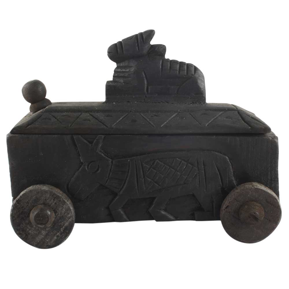 Indian Carved Nandi Wooden Spice Box