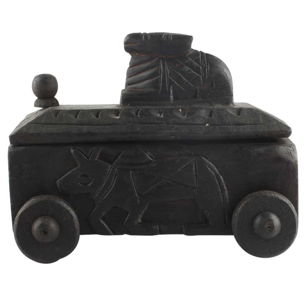 Rare Nandi Wooden Spice Box With Cow Finial