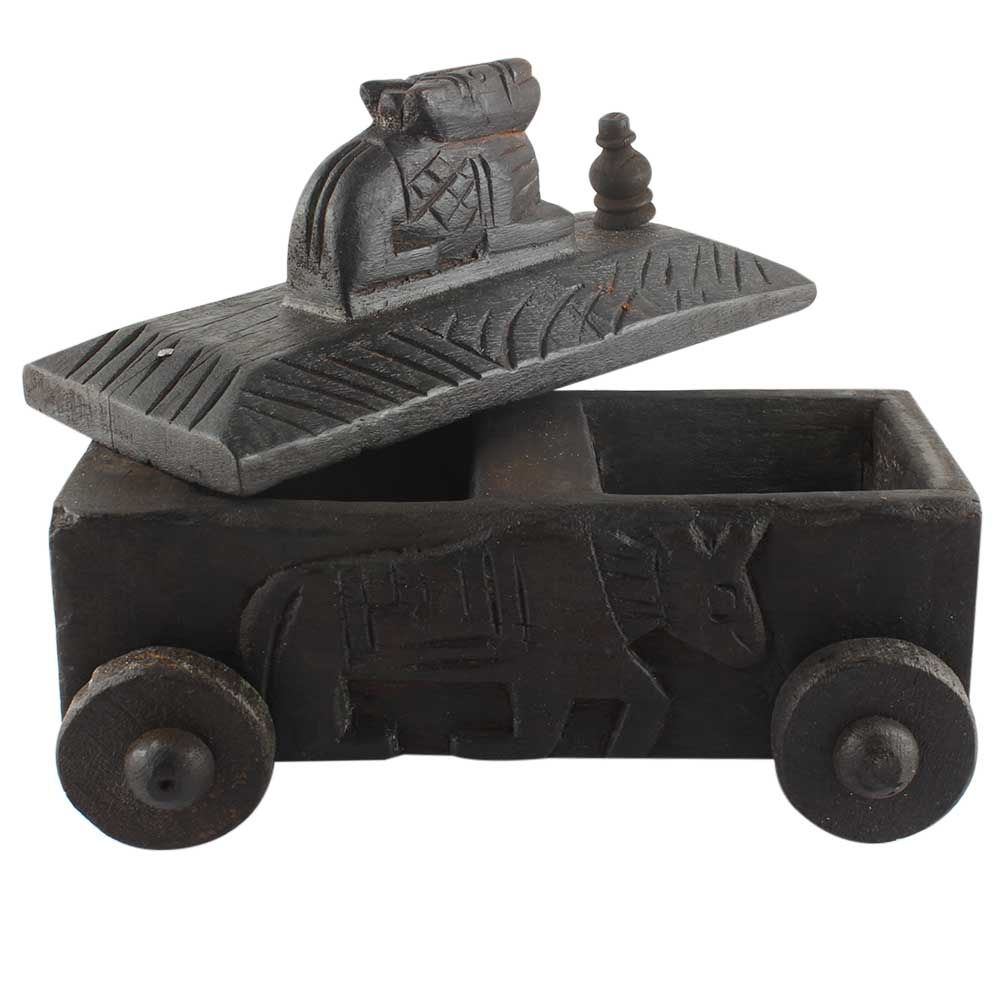 Decorative Nandi Wooden Box Old Collectable