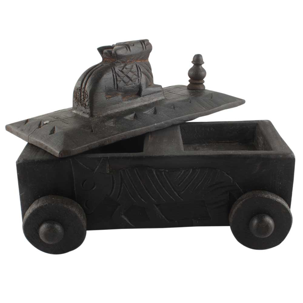 Vintage Handcrafted Old Nandi Wooden Spice Box With Wheels