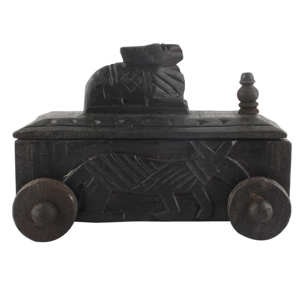 Handcrafted Old Nandi Wooden Box For Storage Indian Kitchenware