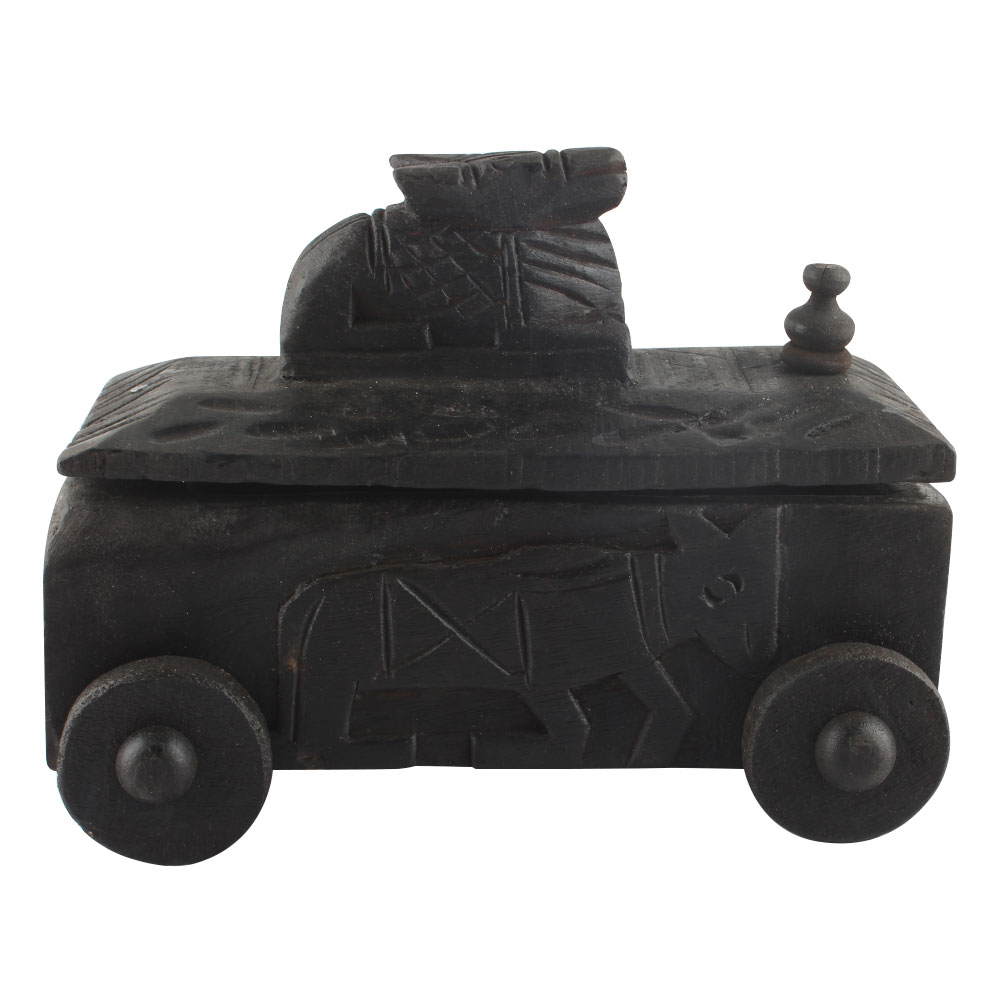 Nandi Wooden Box With Cow Engraved Lid