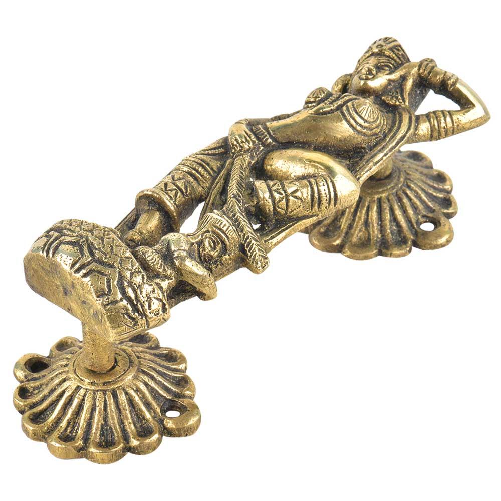 Brass Hindu Goddess Statue Carved Door Handle