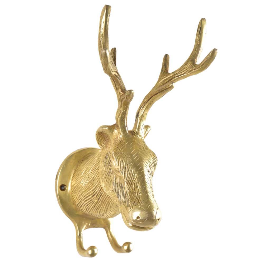 Brass Deer Or Elk Head with Antlers Wall Mount Two Hooks