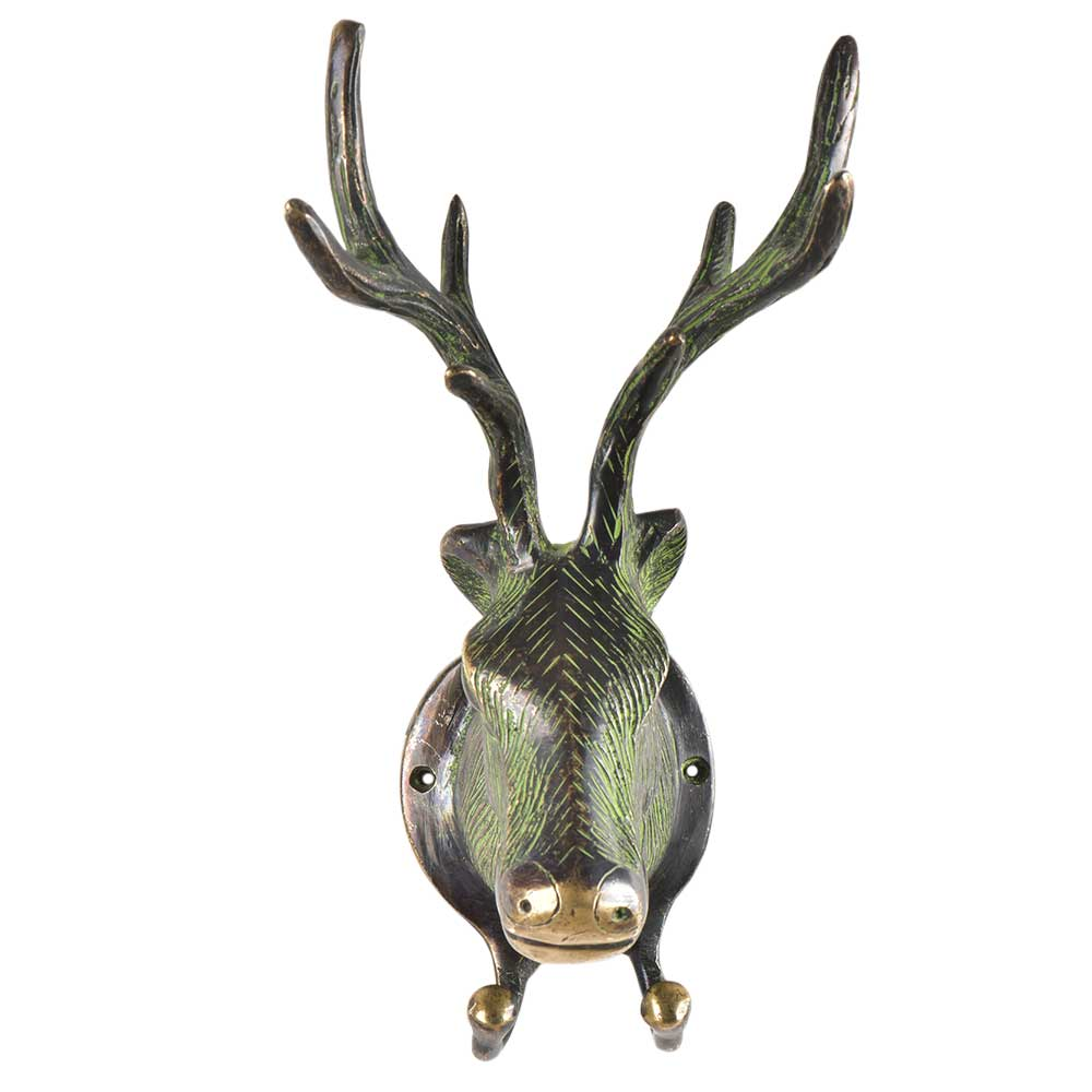 Green Patina Brass Deer or Elk Head with Antlers Two Hooks