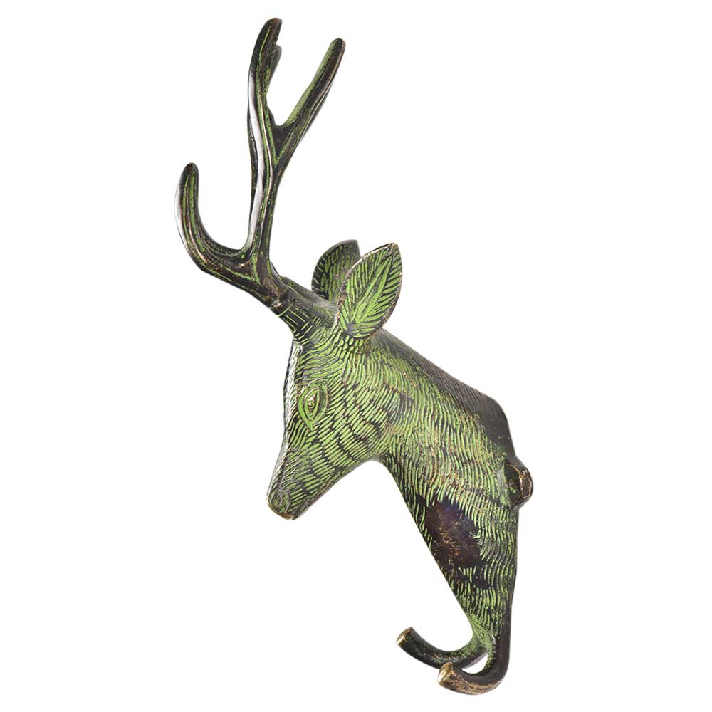 Brass Deer Head with Two Hooks And Green Patina