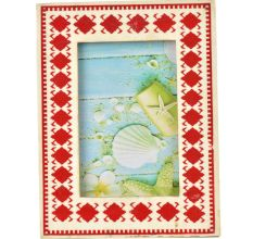 Orange Pattern On White Bone Photo Frame
