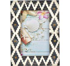 Handmade Grey White Mughal Bone Picture Frame