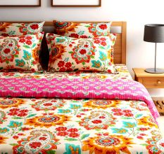 Turu  Cotton Bedding and Quilt Set of 5:Blossom(1 Quilt+2 Pillow Covers+2 Cushion Covers)