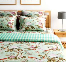 Turu  Cotton Bedding and Quilt Set of 5: Jade Garden (1 Quilt+2 Pillow Covers+2 Cushion Covers)