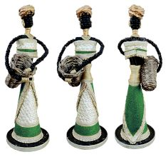 African Doll Showpiece In Green With Holding Basket With Two Hands