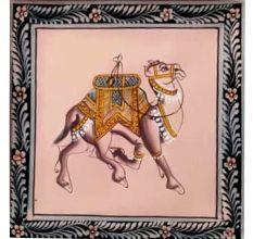 Handmade Greeting Card -Miniature painting of Camel on silk cloth