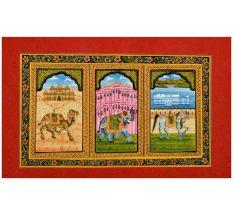 Handmade Miniature painting of decorative Elephant –Horse-Camel Trio