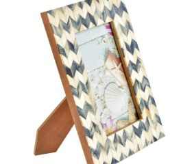 Blue and White  Bone Inlay  Photo Frames With Chevron Design