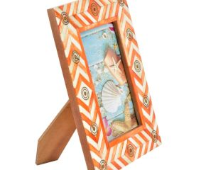 Handcrafted White & Orange Chevron Pattern Photo Frame